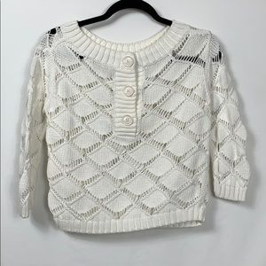 """White 3 button pullover cropped sweater bust 19""""."""